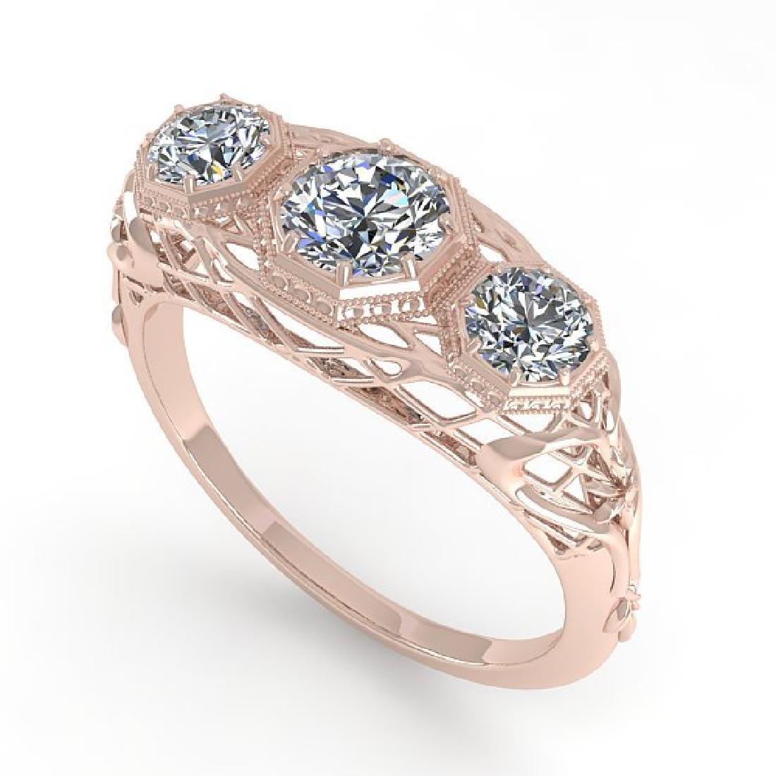 1.00 CTW VS/SI Diamond Art Deco Ring 14K Rose Gold - 2