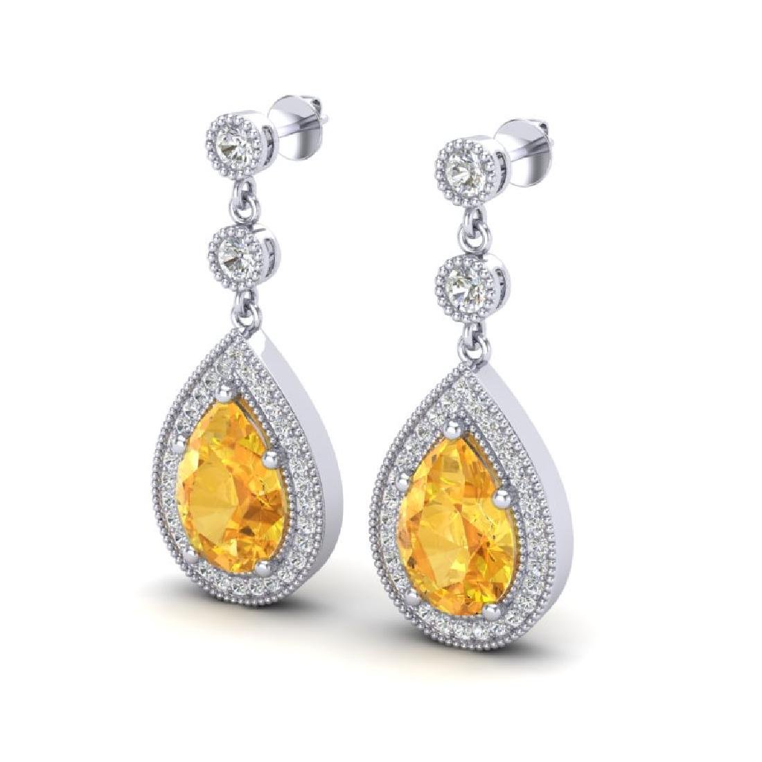 4.50 CTW Citrine & Micro VS/SI Diamond Earrings