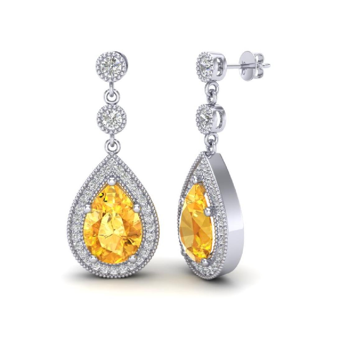 4.50 CTW Citrine & Micro VS/SI Diamond Earrings - 2