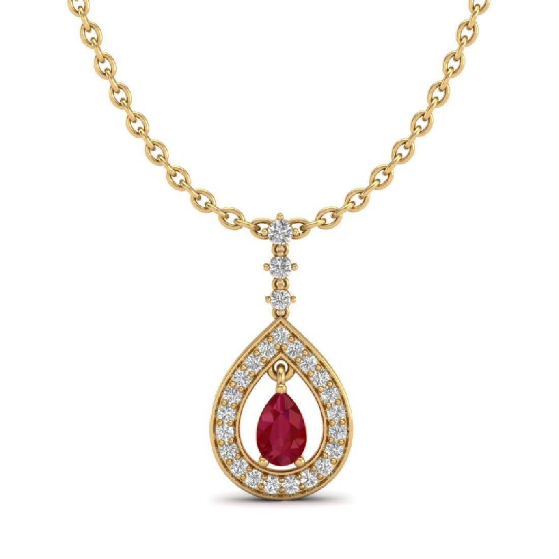 1.15 CTW Ruby & Micro Pave VS/SI Diamond Necklace - 2