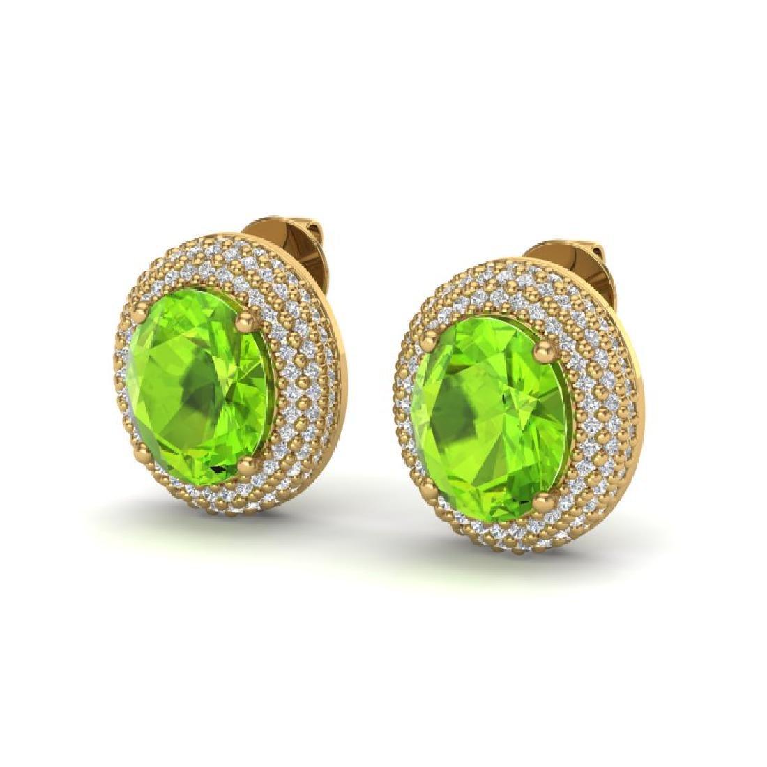 9 CTW Peridot & Micro Pave VS/SI Diamond Earrings 18K