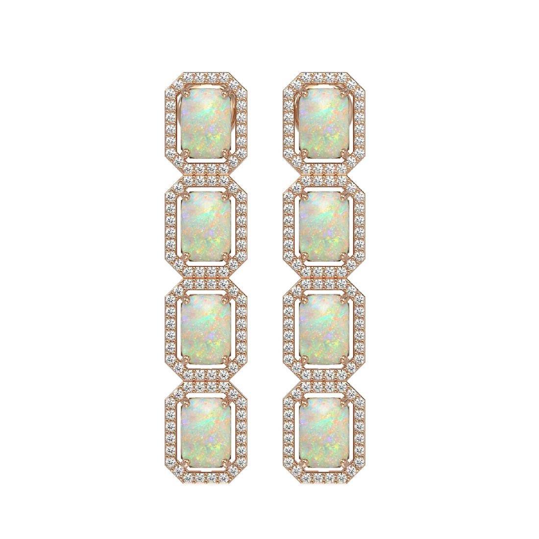 7.93 CTW Opal & Diamond Halo Earrings 10K Rose Gold
