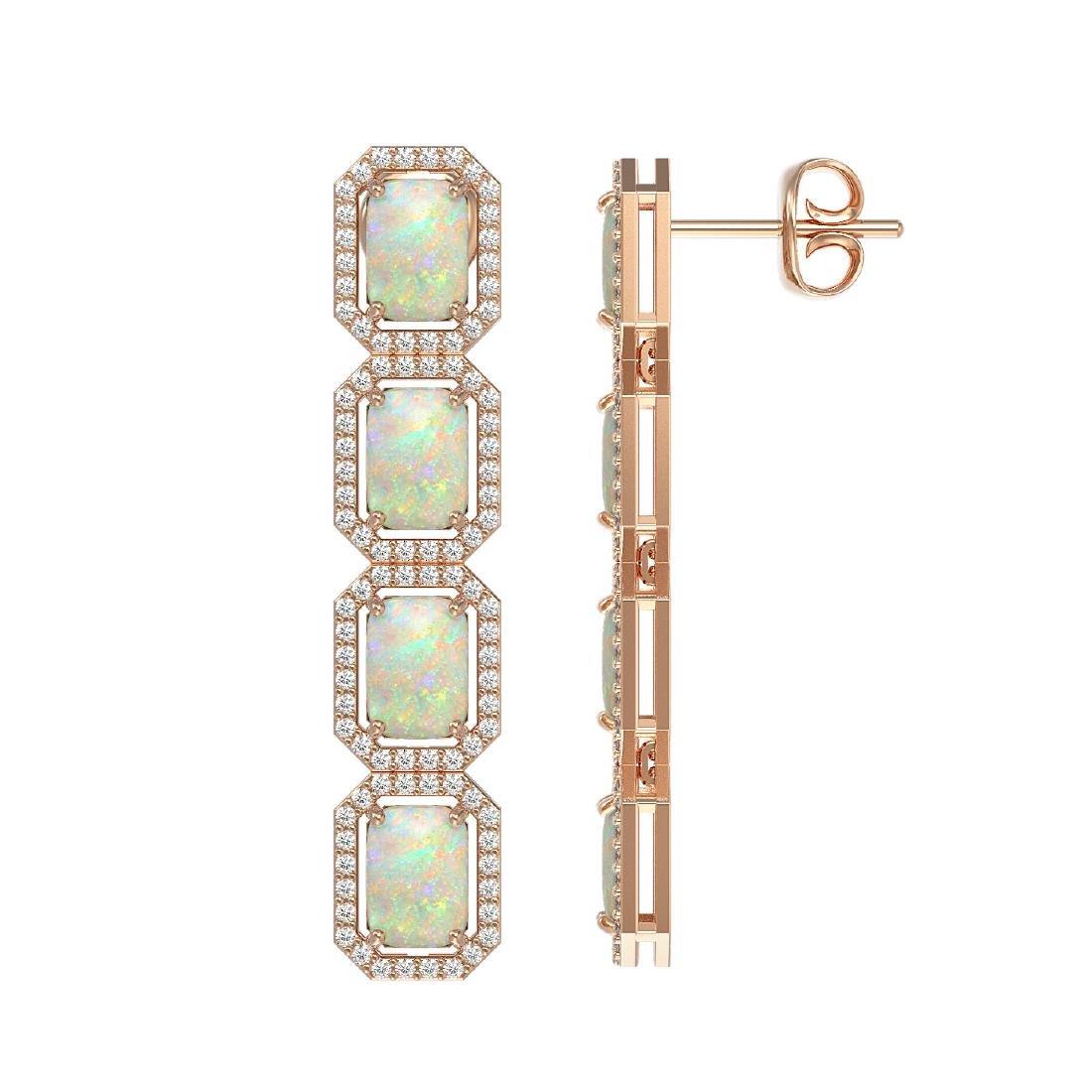 7.93 CTW Opal & Diamond Halo Earrings 10K Rose Gold - 2