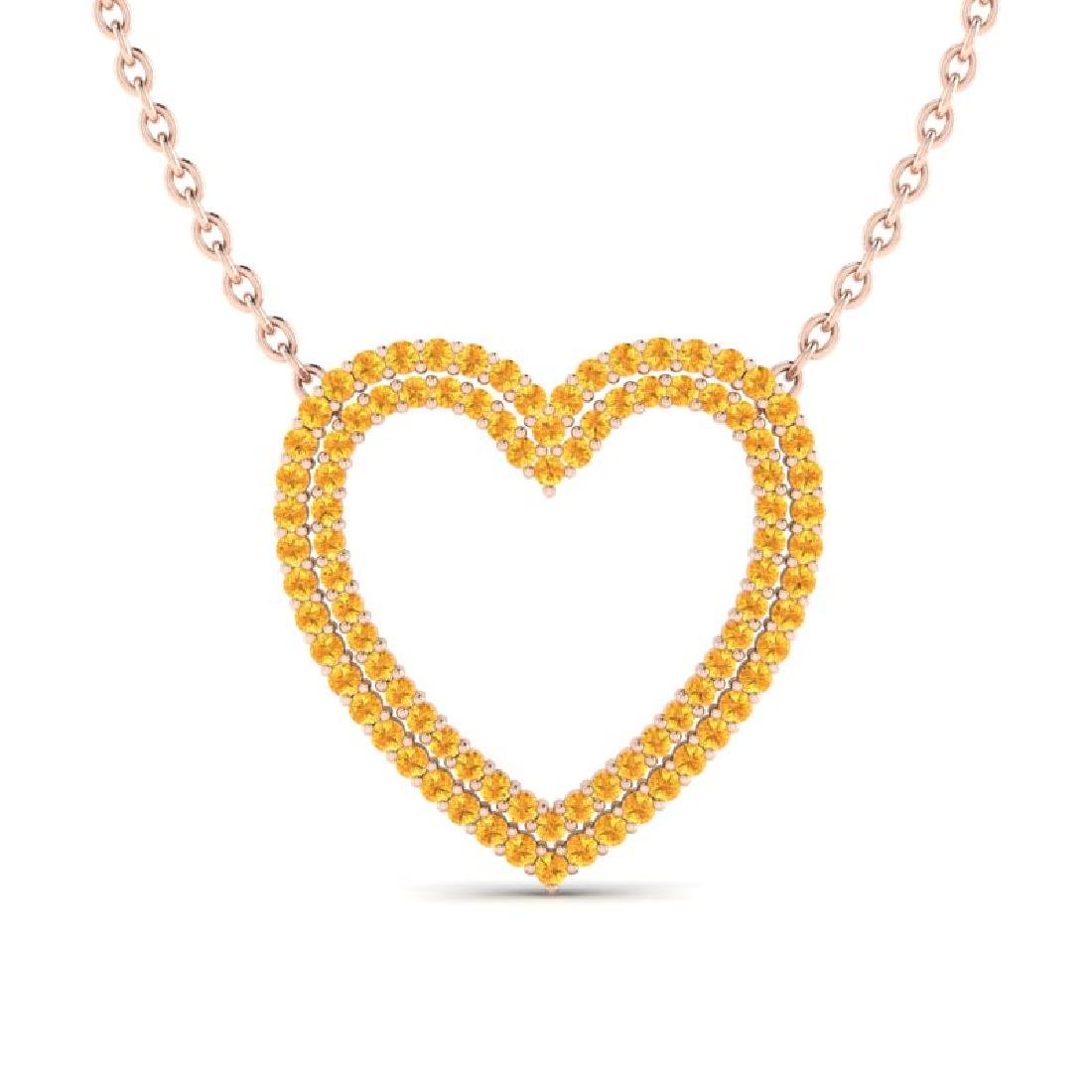 3.50 CTW Yellow Sapphire Heart Halo Designer Necklace