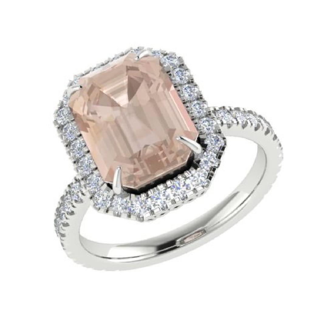 4.50 CTW Morganite & Micro Pave VS/SI Diamond Halo Ring - 2