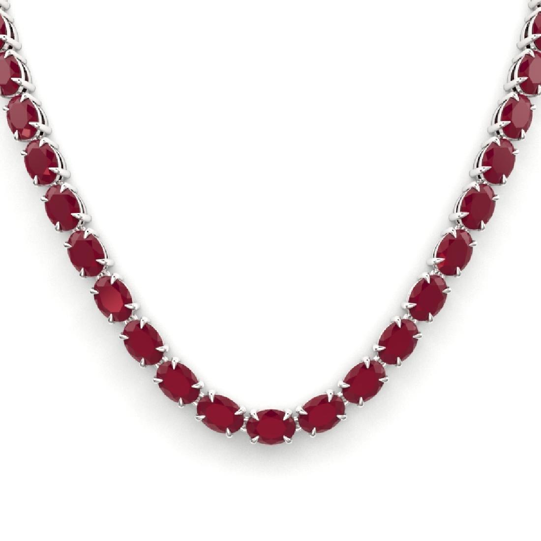 68 CTW Ruby Eternity Designer Inspired Tennis Necklace - 2