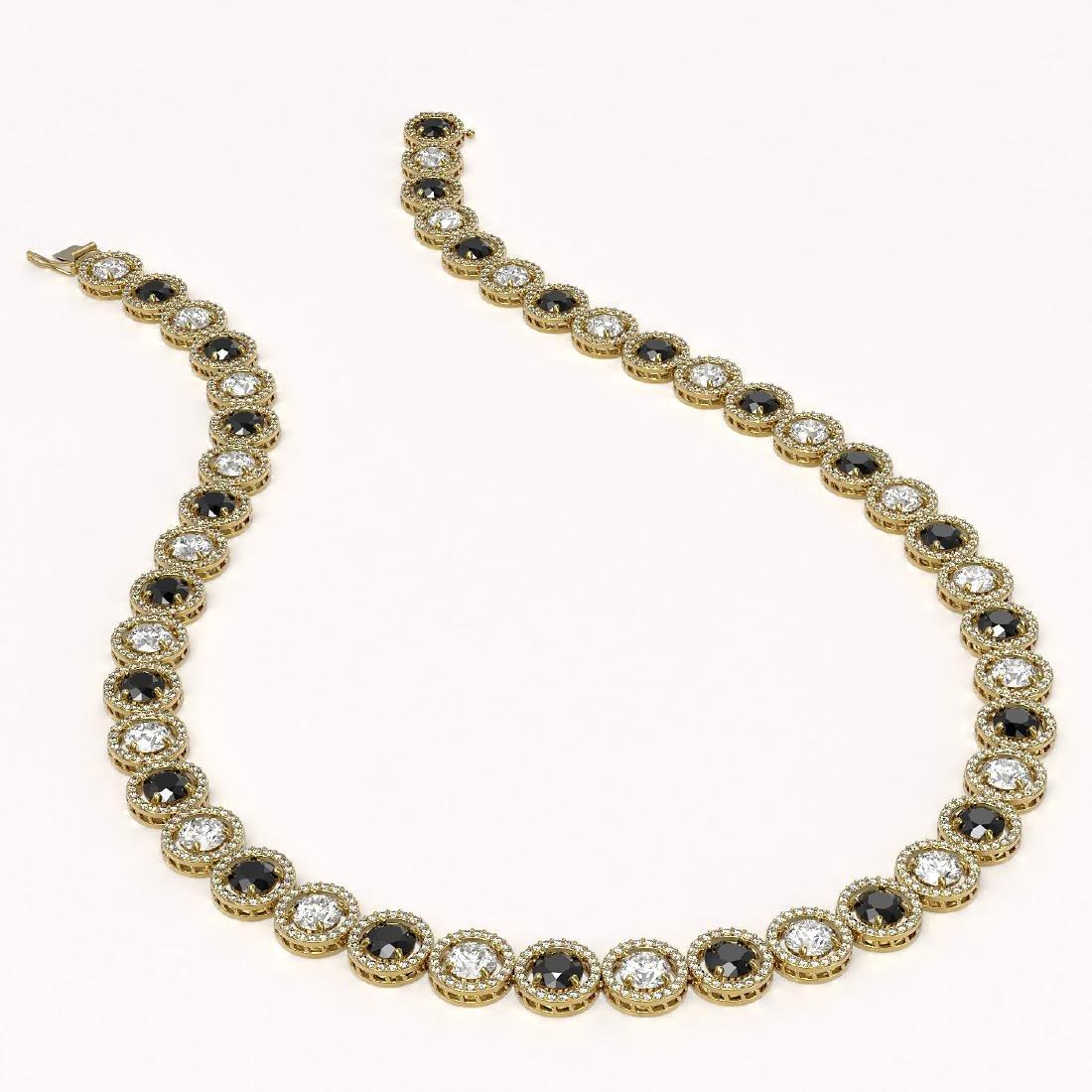 32.10 CTW Black & White Diamond Designer Necklace 18K - 2