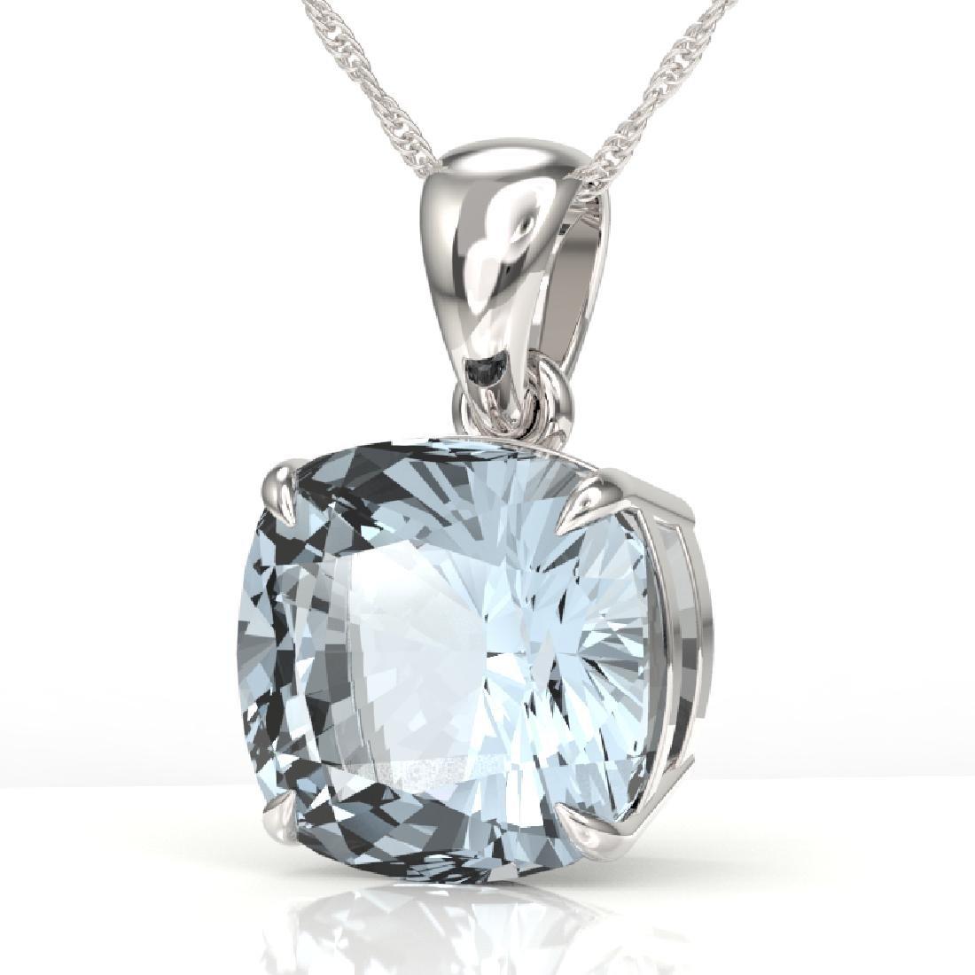 6 Cushion Cut Sky Blue Topaz Solitaire necklace 18K