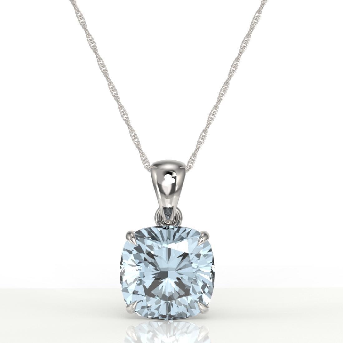 6 Cushion Cut Sky Blue Topaz Solitaire necklace 18K - 2