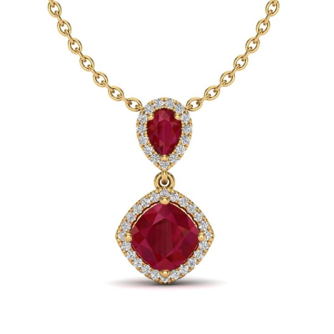 3.50 CTW Ruby & Micro Pave VS/SI Diamond Necklace Halo