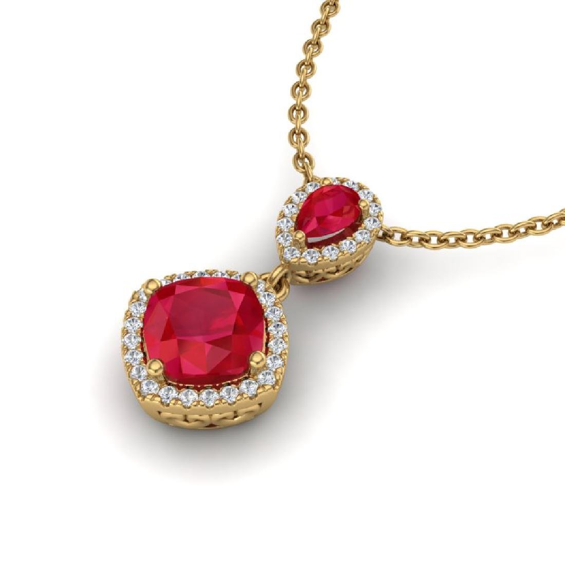 3.50 CTW Ruby & Micro Pave VS/SI Diamond Necklace Halo - 2
