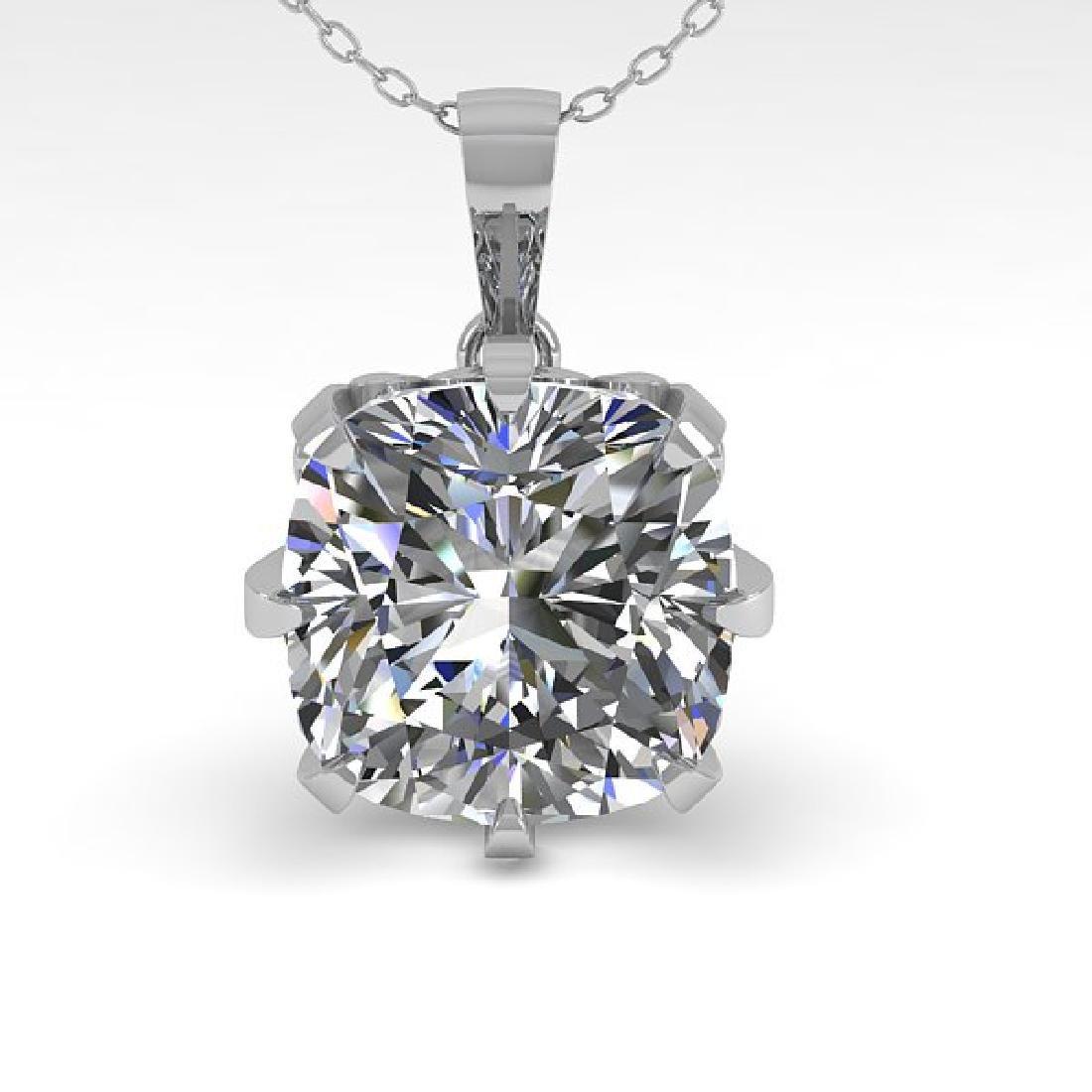 1 CTW VS/SI Cushion Diamond Necklace 14K White Gold - 2