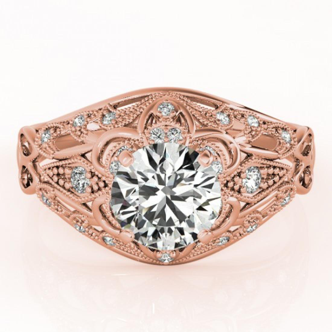 0.87 CTW Certified VS/SI Diamond Solitaire Antique Ring