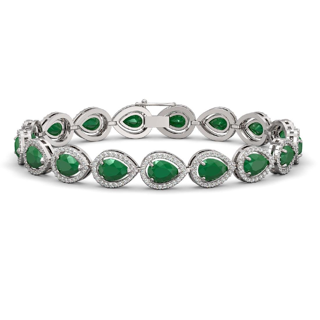 21.69 CTW Emerald & Diamond Halo Bracelet 10K White