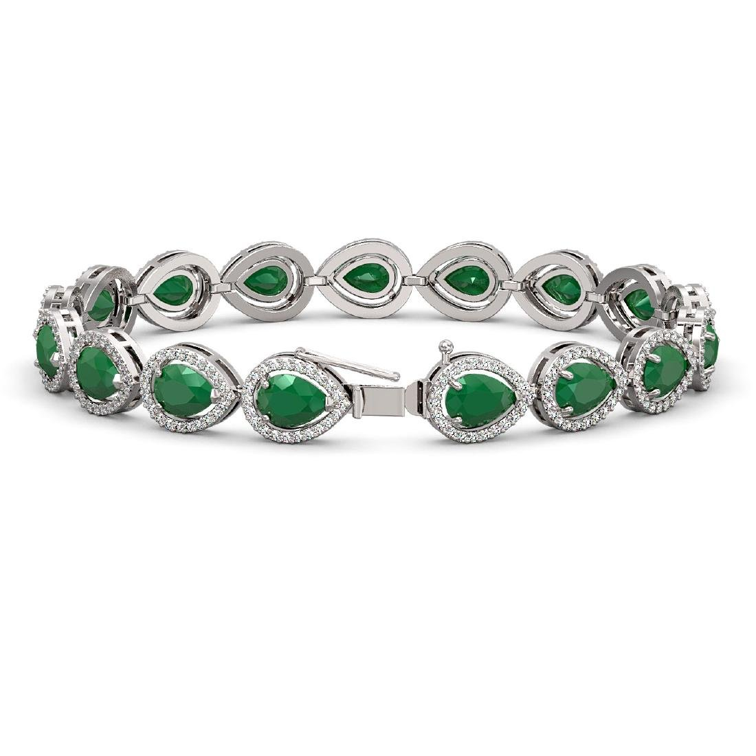 21.69 CTW Emerald & Diamond Halo Bracelet 10K White - 2