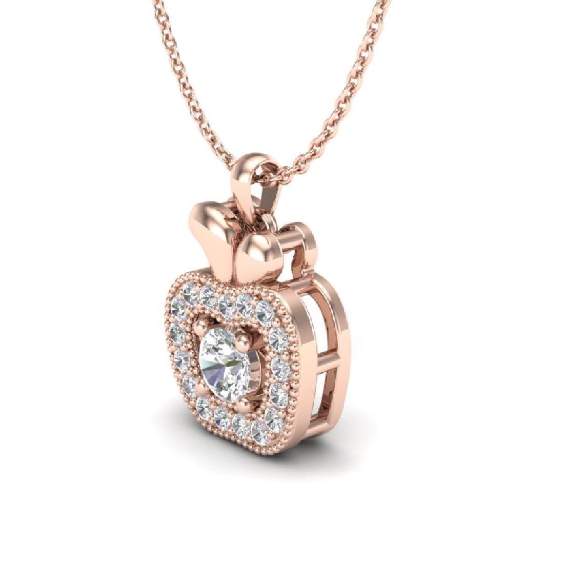 0.30 CTW VS/SI Diamond Micro Pave Halo Necklace 14K - 2