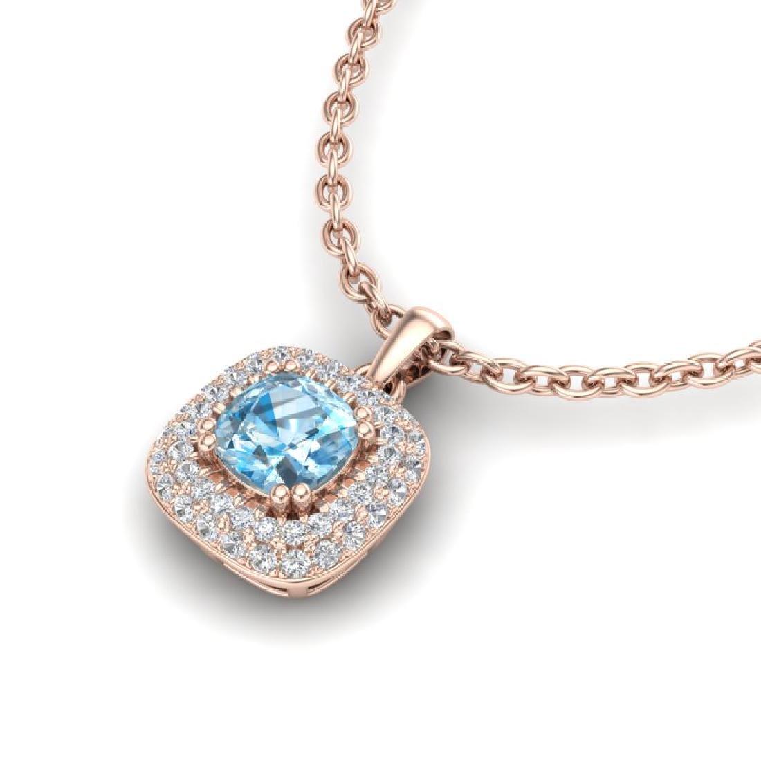 1.08 CTW Sky Blue Topaz & Micro VS/SI Diamond Necklace - 2
