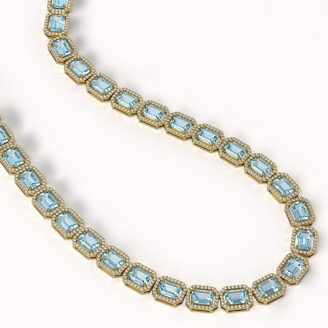 52.89 CTW Sky Topaz & Diamond Halo Necklace 10K Yellow - 2