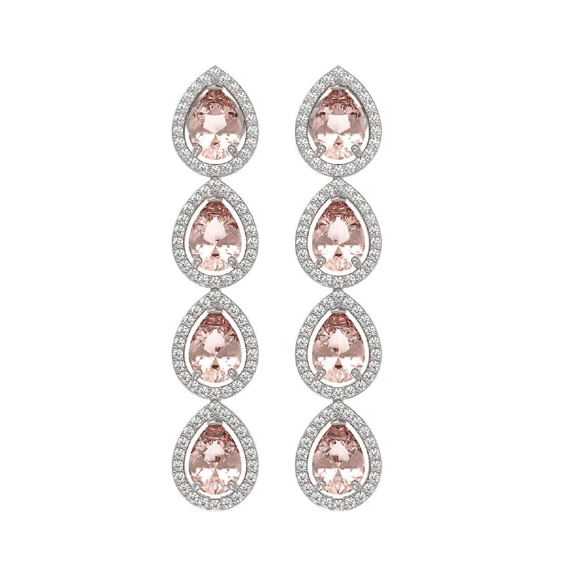 7.8 CTW Morganite & Diamond Halo Earrings 10K White
