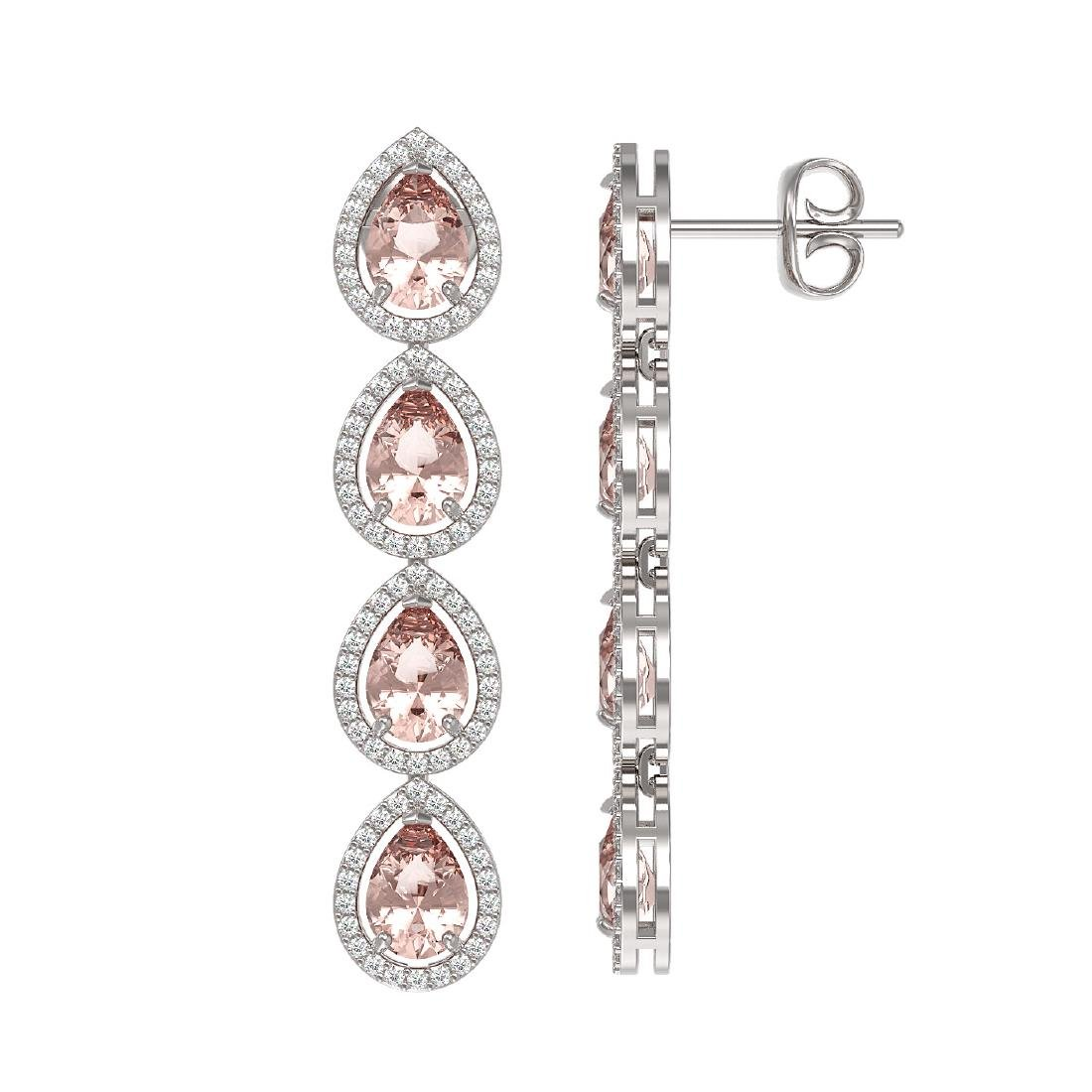 7.8 CTW Morganite & Diamond Halo Earrings 10K White - 2