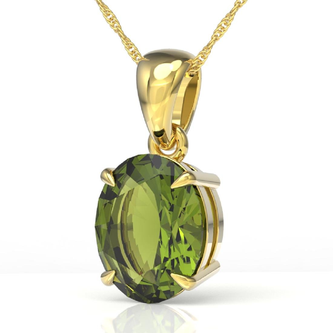 3 CTW Green Tourmaline Designer Solitaire Necklace 18K