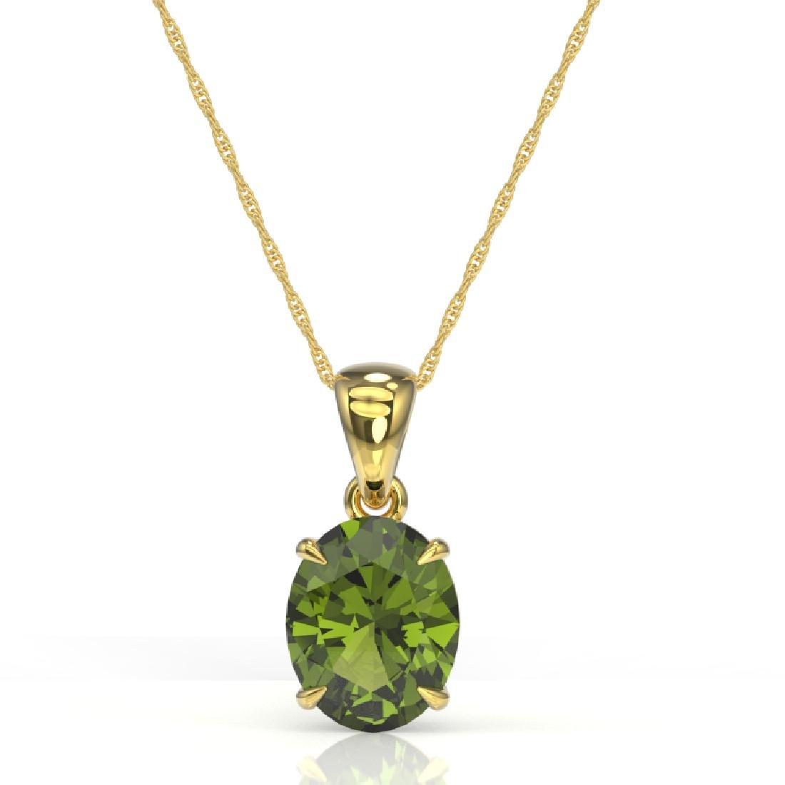 3 CTW Green Tourmaline Designer Solitaire Necklace 18K - 2