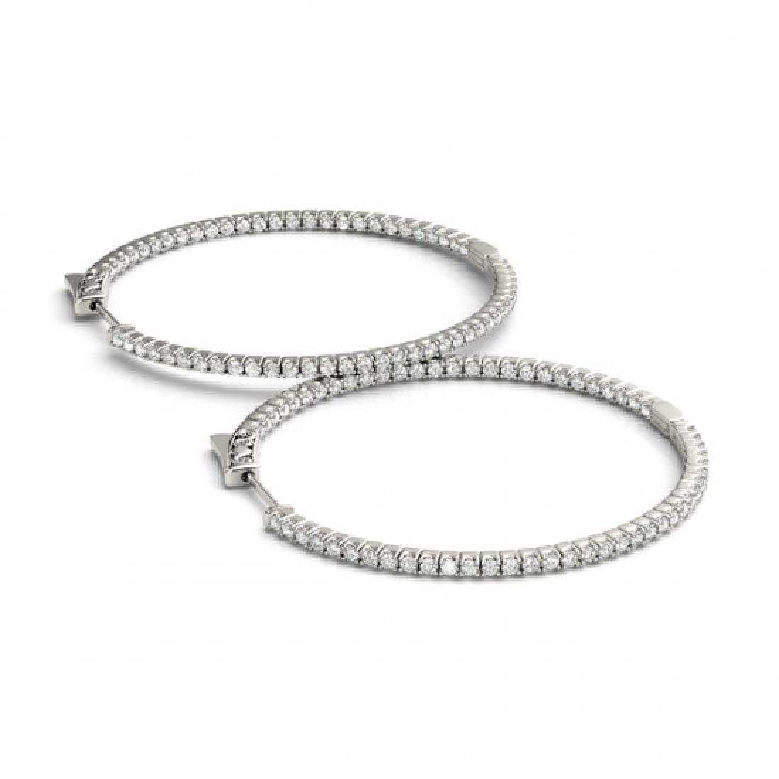 3.5 CTW Diamond VS/SI Certified 57 Mm Hoop Earrings 14K
