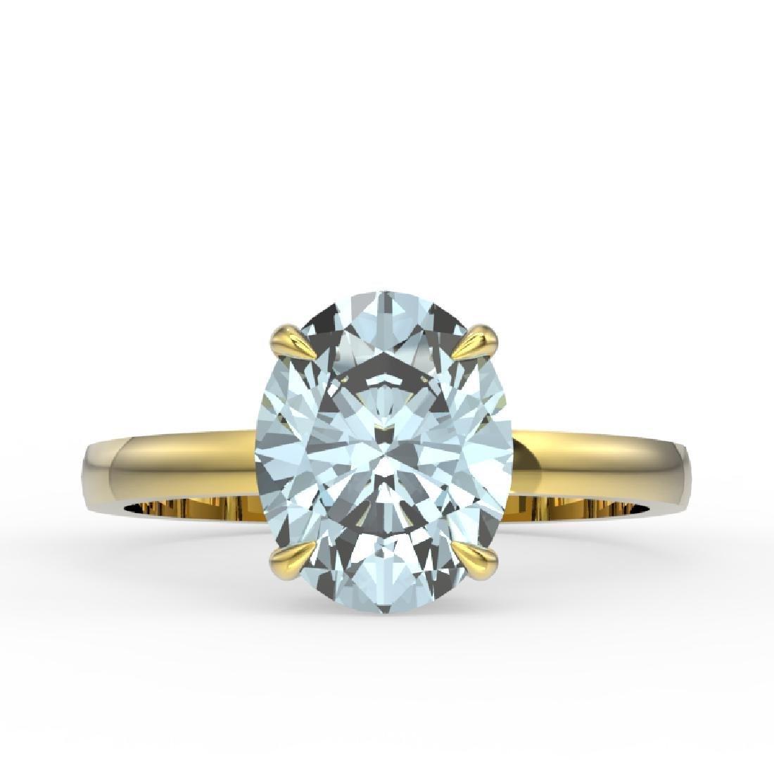 2.50 CTW Aquamarine Designer Inspired Solitaire Ring