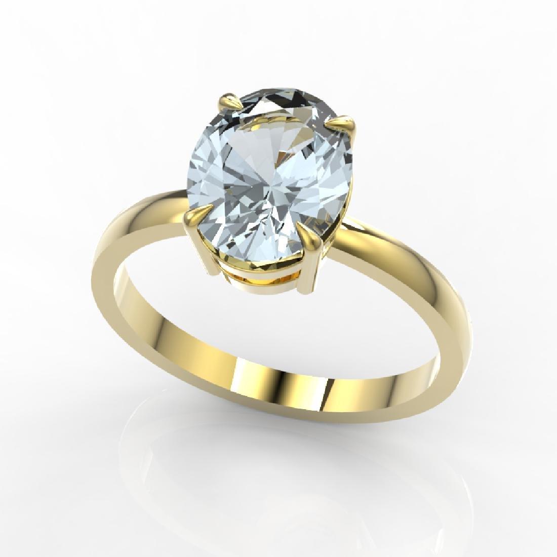 2.50 CTW Aquamarine Designer Inspired Solitaire Ring - 2