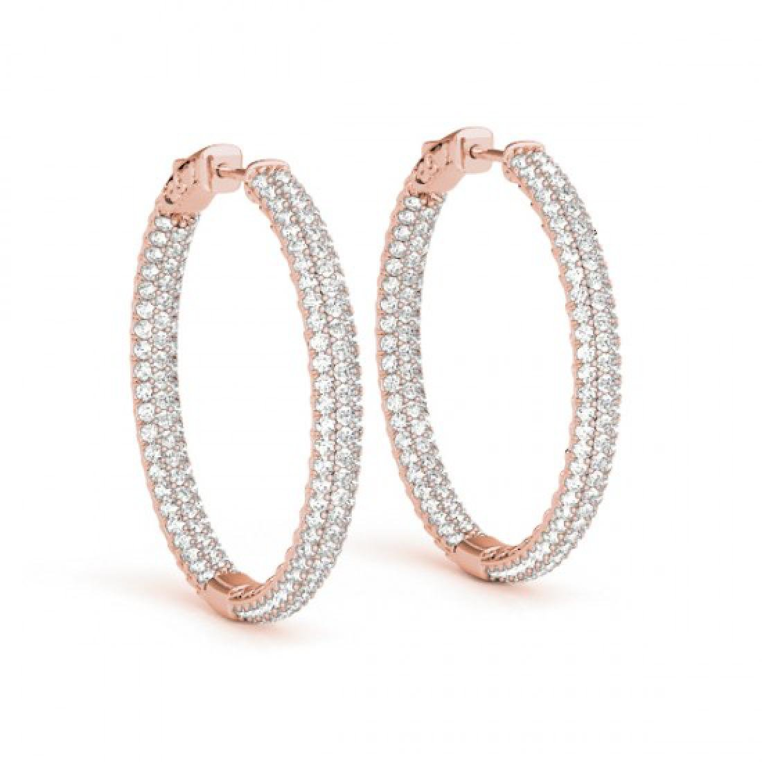 4.5 CTW Diamond VS/SI Certified 28 Mm Hoop Earrings 14K - 2