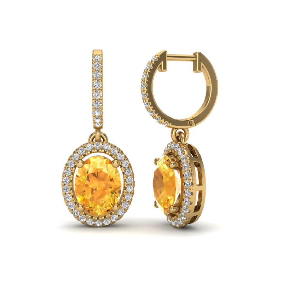 3.50 CTW Citrine & Micro Pave VS/SI Diamond Earrings - 2
