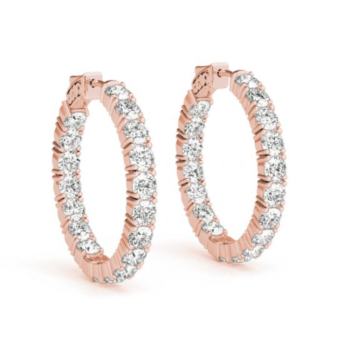 8 CTW Diamond VS/SI Certified 30 Mm Hoop Earrings 14K - 2