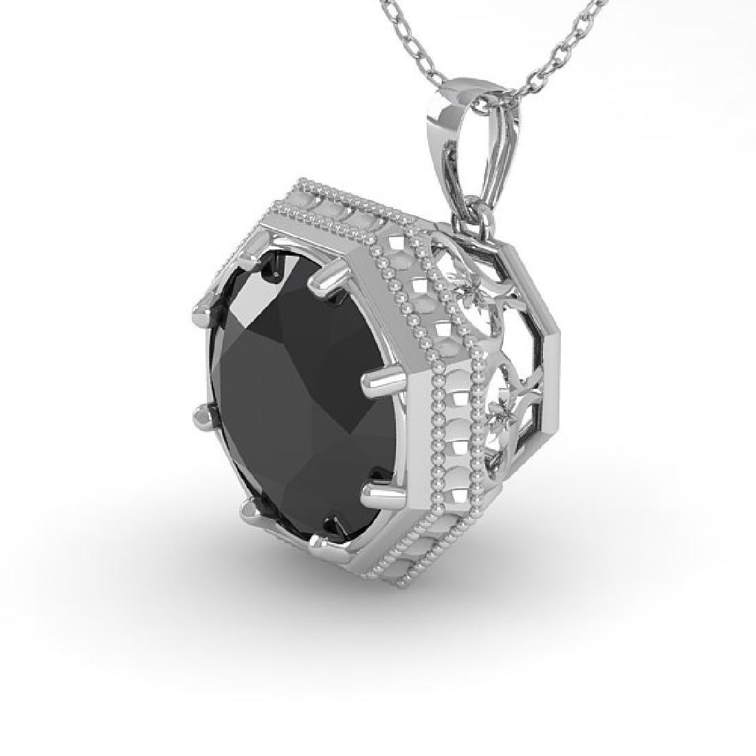 1 CTW Black Diamond Solitaire Necklace 14K White Gold