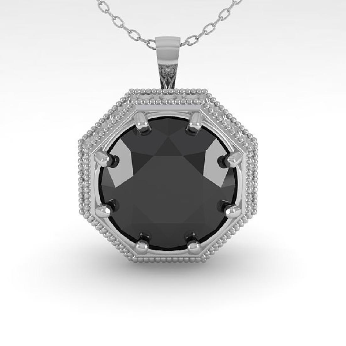 1 CTW Black Diamond Solitaire Necklace 14K White Gold - 2