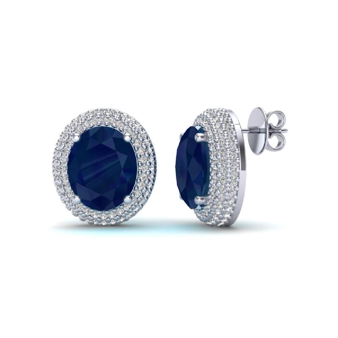 9.20 CTW Sapphire & Micro Pave VS/SI Diamond Earrings - 2