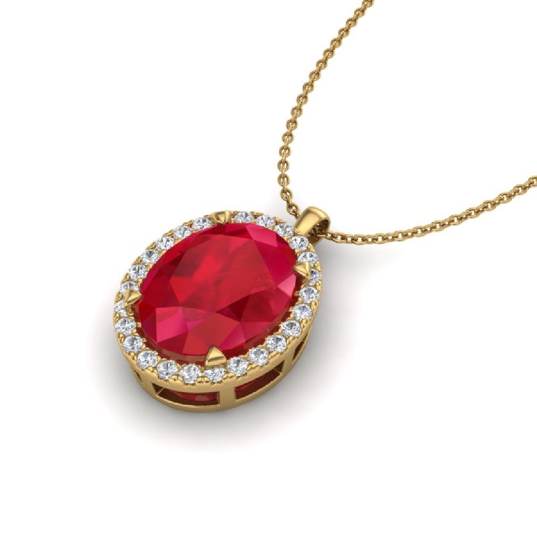 2.75 CTW Ruby & Micro VS/SI Diamond Halo Necklace 18K - 2
