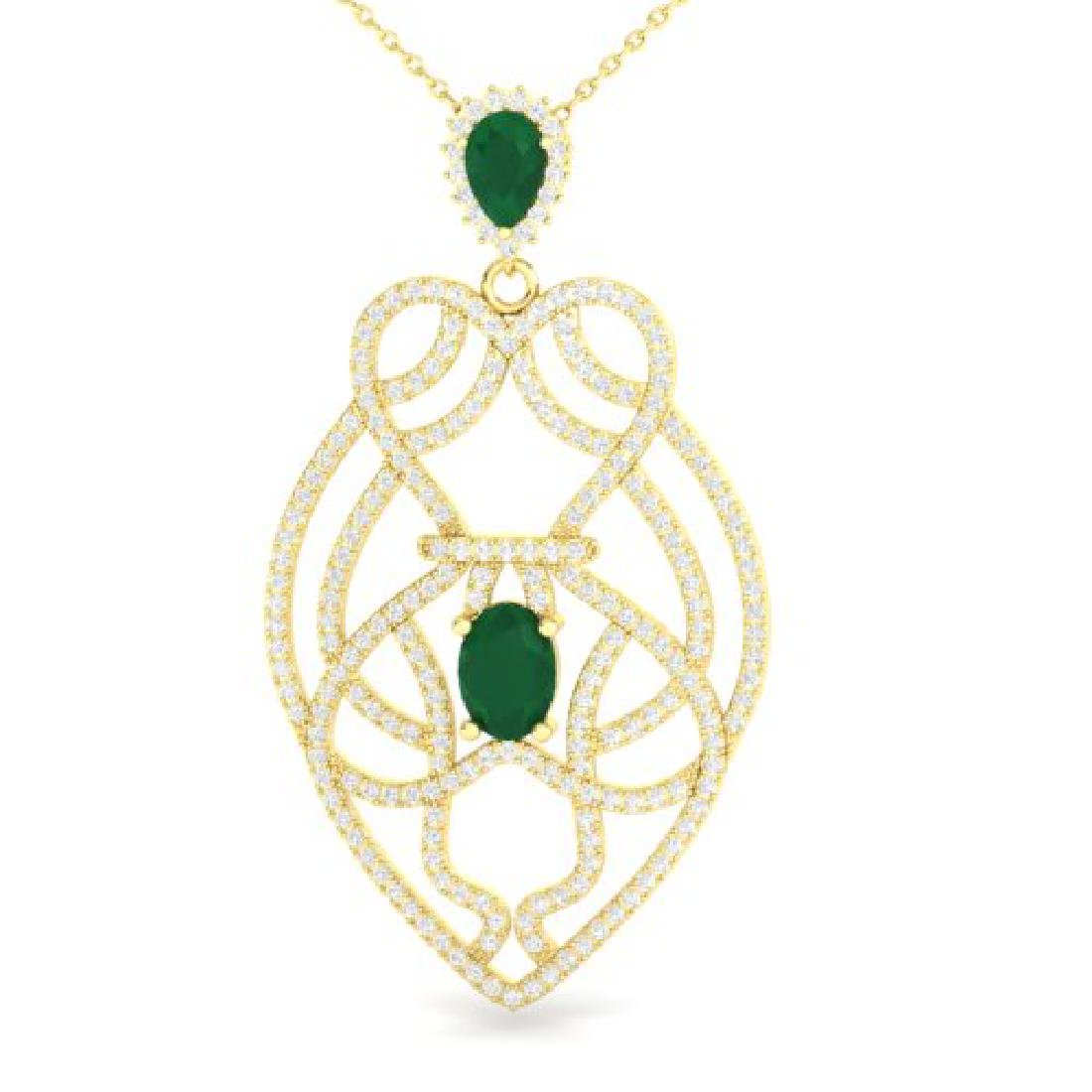 3.50 CTW Emerald & Micro VS/SI Diamond Heart Necklace