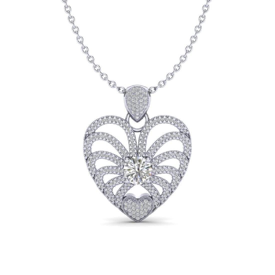 3 CTW Micro Pave VS/SI Diamond Heart Necklace 14K White
