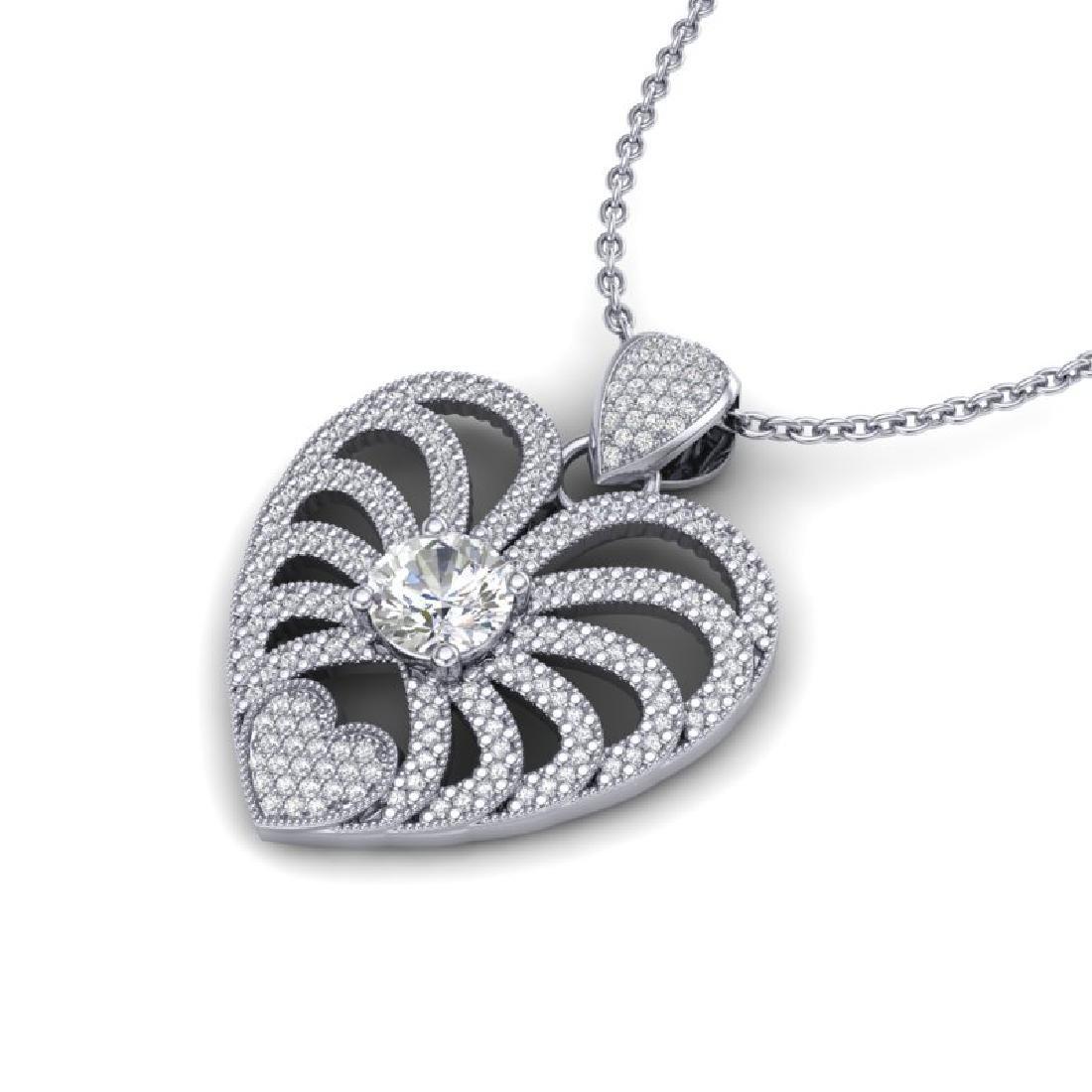 3 CTW Micro Pave VS/SI Diamond Heart Necklace 14K White - 2