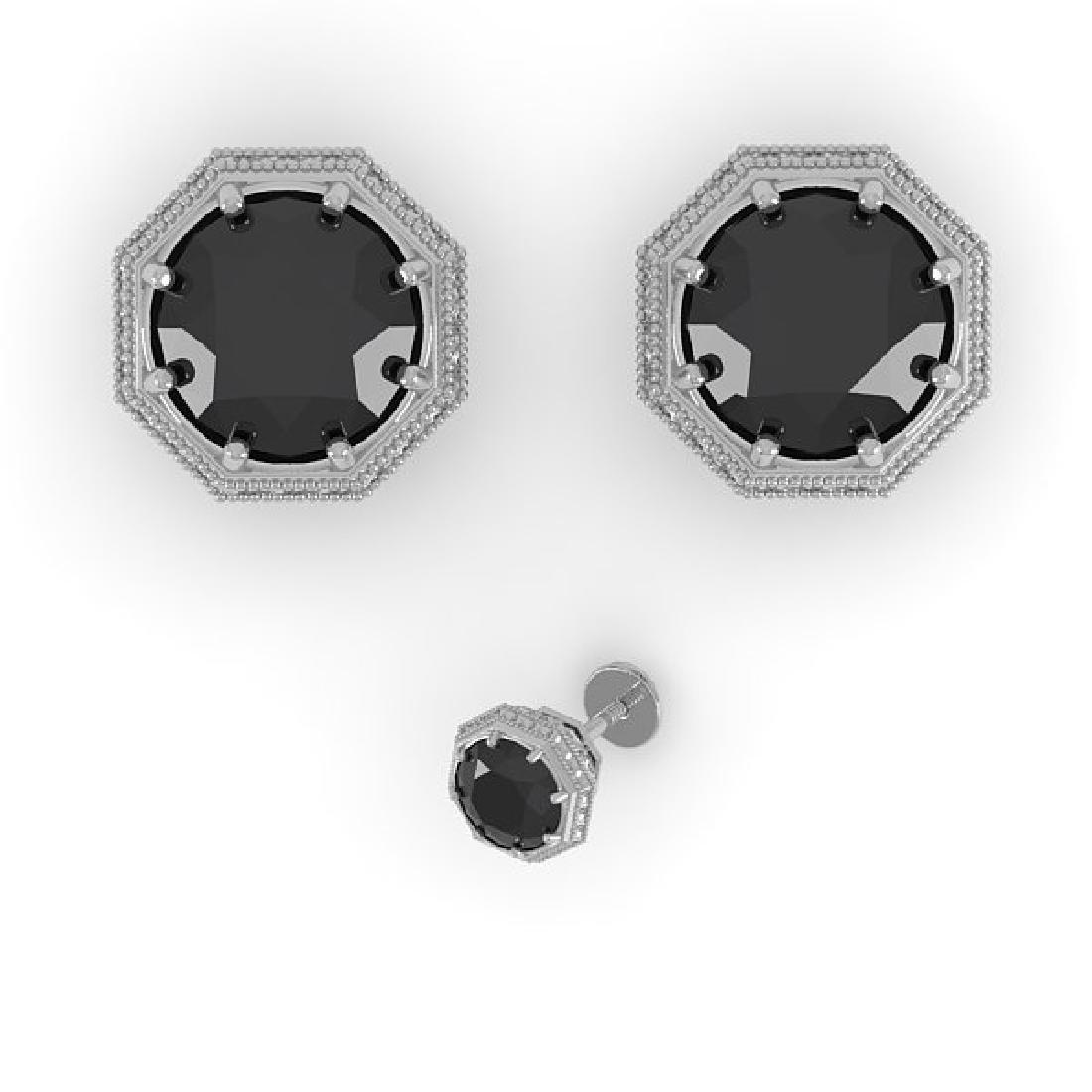 1.0 CTW Black Diamond Stud Solitaire Earrings 14K White - 2
