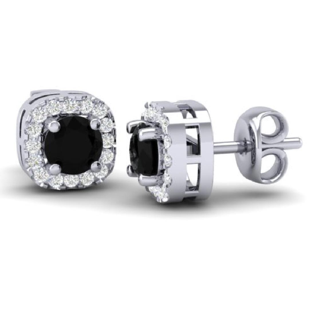 0.90 CTW Micro Pave Black & VS/SI Diamond Earrings - 2
