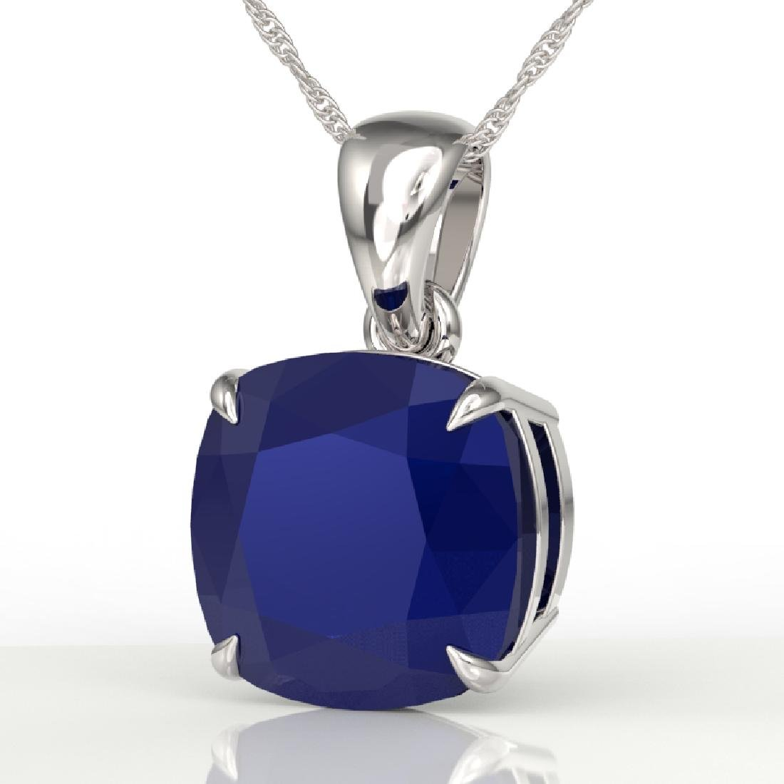 6 CTW Cushion Cut Sapphire Designer Solitaire Necklace