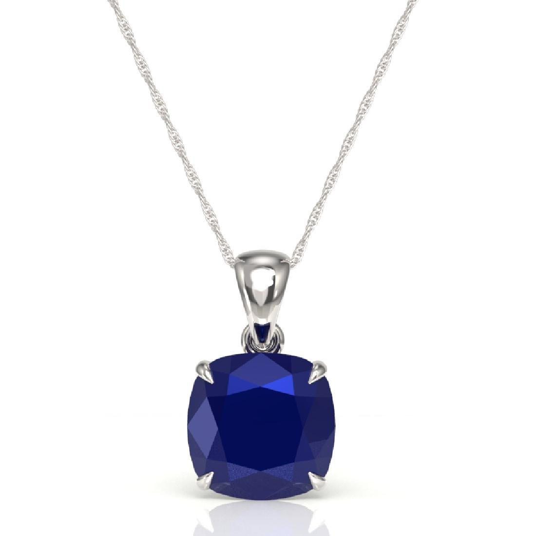 6 CTW Cushion Cut Sapphire Designer Solitaire Necklace - 2