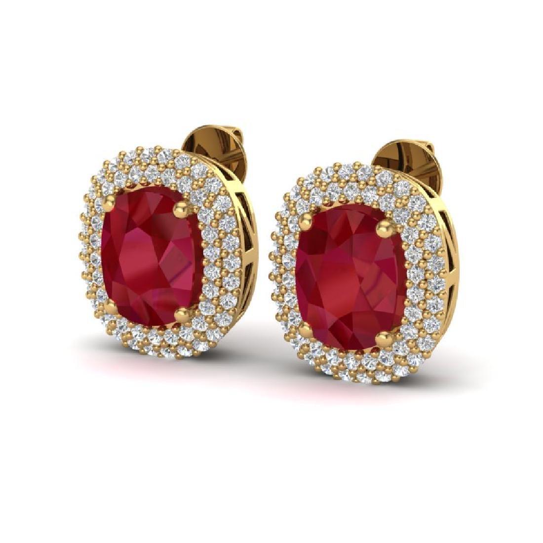 6.30 CTW Ruby & Micro Pave VS/SI Diamond Halo Earrings