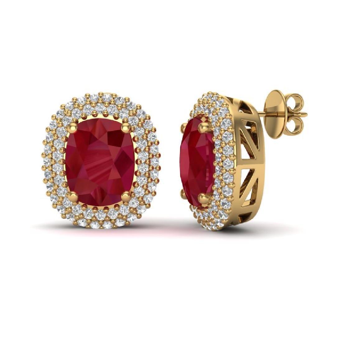6.30 CTW Ruby & Micro Pave VS/SI Diamond Halo Earrings - 2