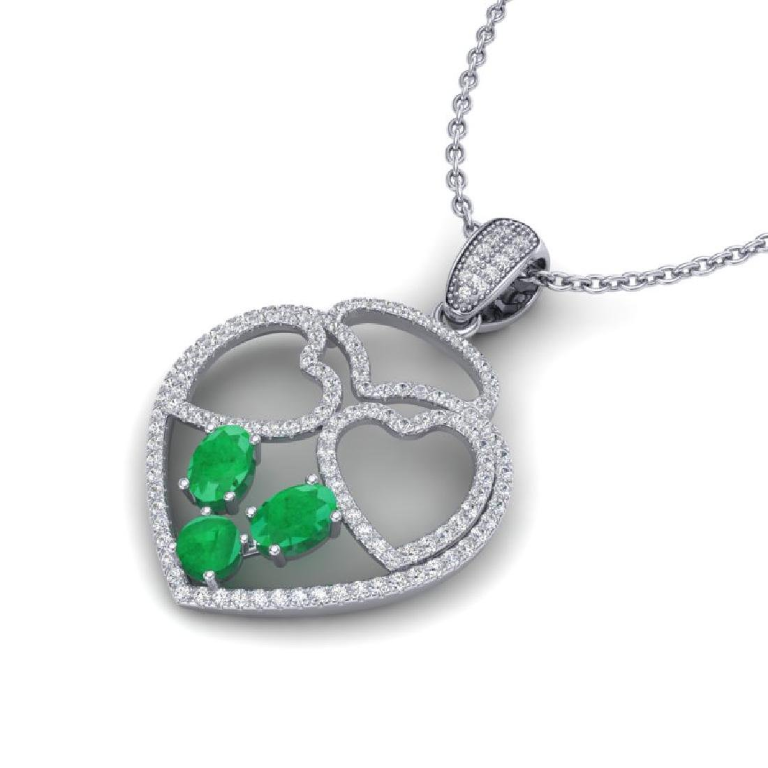 3 CTW Emerald & Micro Pave Designer Inspired Heart