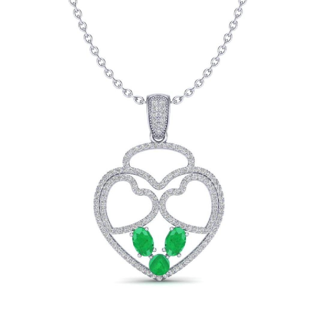 3 CTW Emerald & Micro Pave Designer Inspired Heart - 2