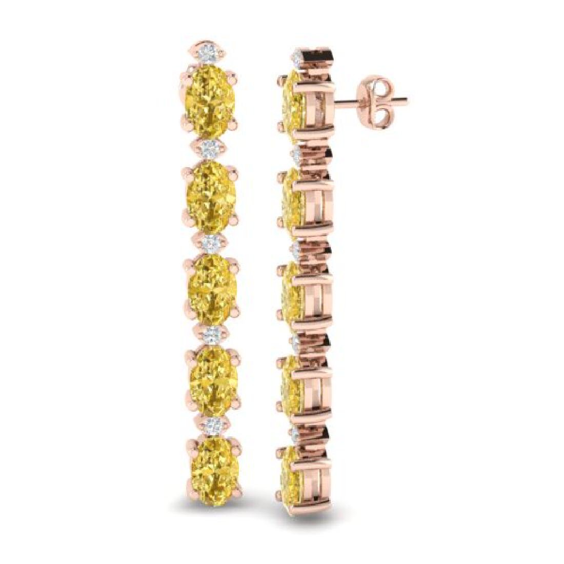 6 CTW Citrine & VS/SI Diamond Tennis Earrings 10K Rose - 2