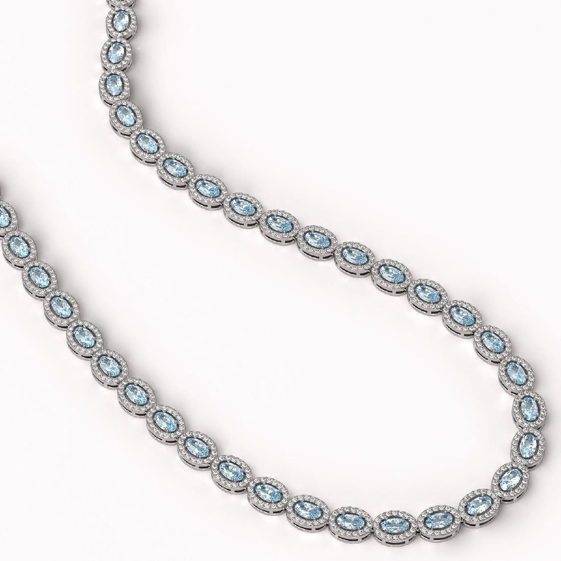 24.07 CTW Sky Topaz & Diamond Halo Necklace 10K White - 2