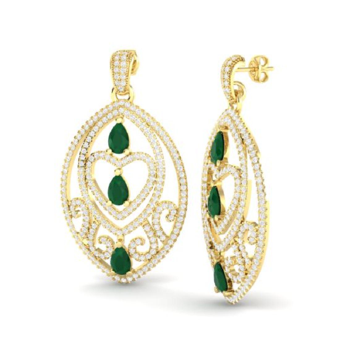 7 CTW Emerald & Micro Pave VS/SI Diamond Heart Earrings - 2